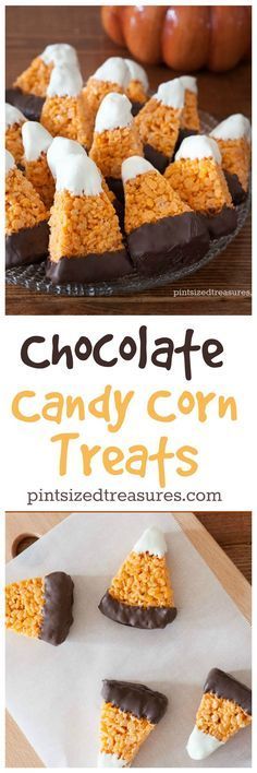 Chocolate Candy Corn Crispy Treats are super-cute and easy to make! Not to mention incredibly yummy! Perfect for your next fall party! @Pint-sized Treasures