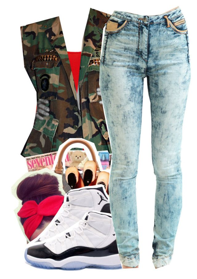 Untitled #147 by mb-misfit on Polyvore featuring Dorothy Perkins, Jena.Theo, WGACA, Concord, red, skinnyjeans, camo, jordans and nailtrend