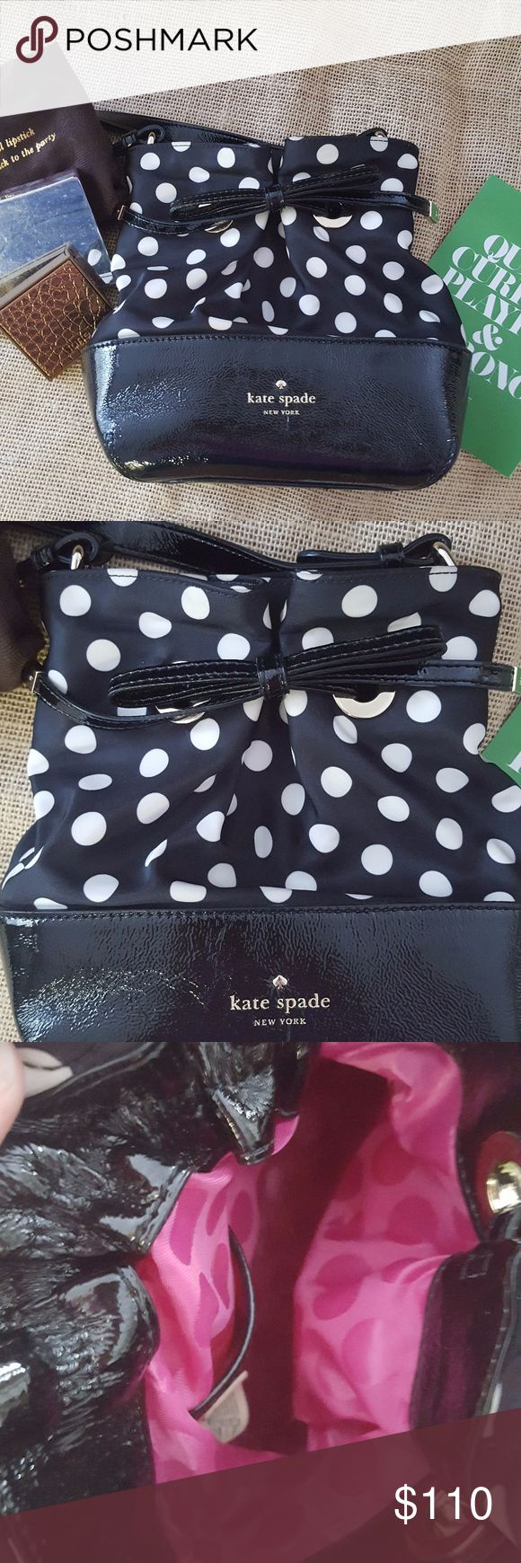 Kate Spade Polka Dot Bag What is more fun than polka dots?? Kate Spade polka dots! This purse is beautiful! Fun evening bag style with bright magenta lining. Comes with the dust bag!  8 in by 7 in by 3.5 d. Long shoulder strap. Woven nylon with patent leather trim, 14 k hardware.  100% Authentic. kate spade Bags
