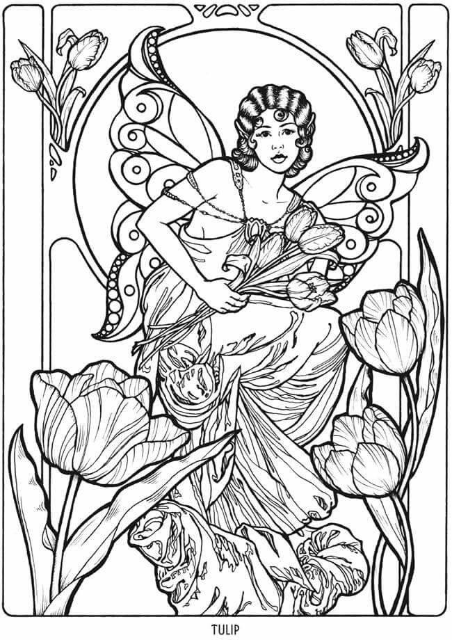 Art Nouveau Flower Fairy Coloring Page