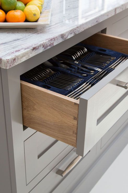 Handmade Kitchens   Handcrafted Dovetail Drawer Boxes Can Be Designed With  A Painted Front End To