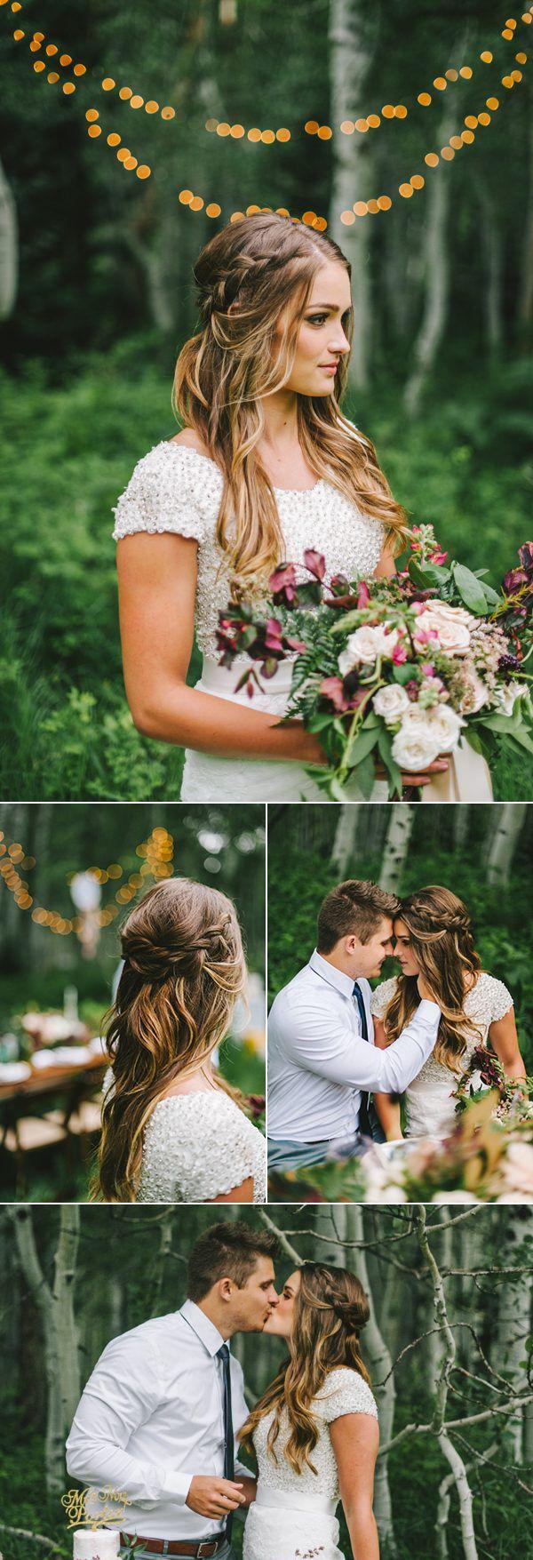 Half up braided bridal hairstyle | Image by Nhiya Kaye Photography