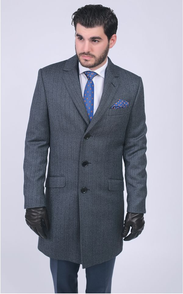 Palton elegant, gri, modern si confortabil: RALPH SLIM