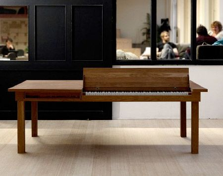 Piano Table.  Dinner table with integrated electric piano designed by Georg Bohle.