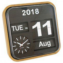 Karlsson Big Flip Clock - Wood - retro calendar wall clock