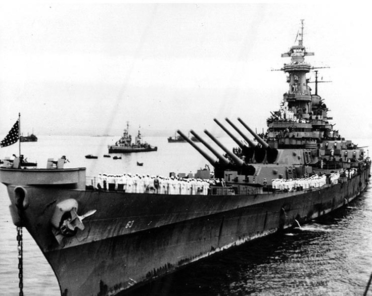 USS Missouri, 1945                                          My grandfather was aboard this ship!
