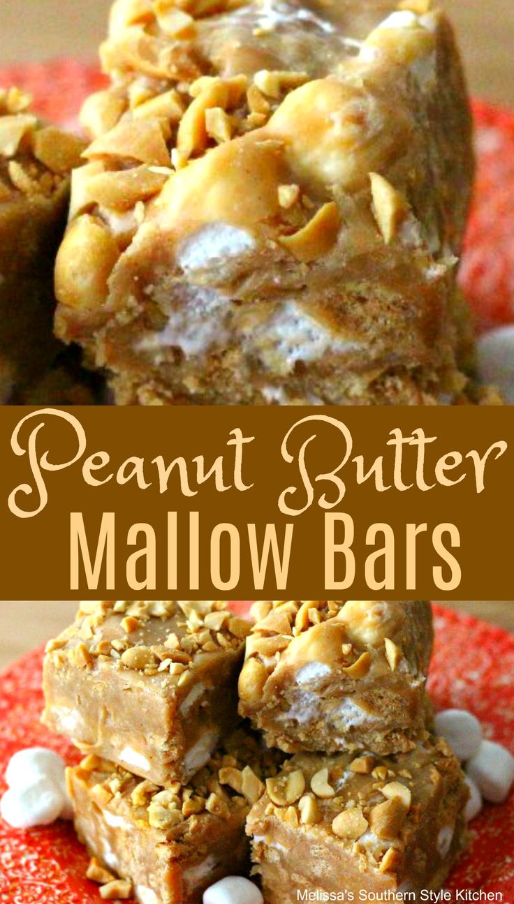Peanut Butter Mallow Bars #candy #sweets #desserts…