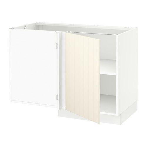 SEKTION Corner base cabinet with shelf - white, Hittarp off-white - IKEA