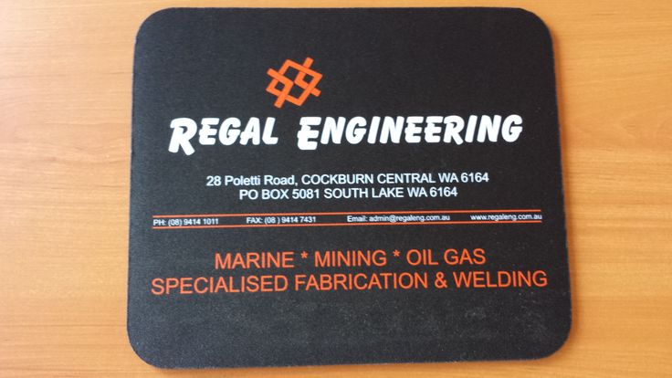 Printed mouse mats for Regal Engineering