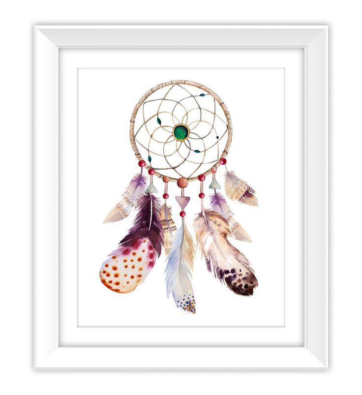 Boho Watercolor Dreamcatcher Art Print, Instant Download, Printable, Watercolor, Dreamcatcher, Feathers, Tribal, Native American, Decor, DIY par ColorLab2016 sur Etsy https://www.etsy.com/fr/listing/478015525/boho-watercolor-dreamcatcher-art-print