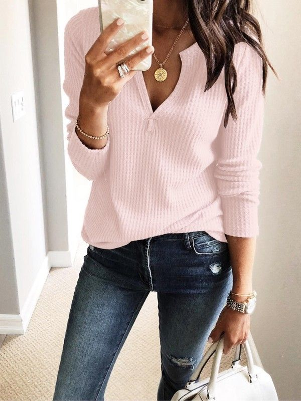 8db7d14d54b Womens V Neck Shirt Long Sleeve Pink Waffle Knit Thermal Tee Tops Size  Medium. Women's Clothing, Tops, Blouses & Shirts $24.99 - Boutiquefeel