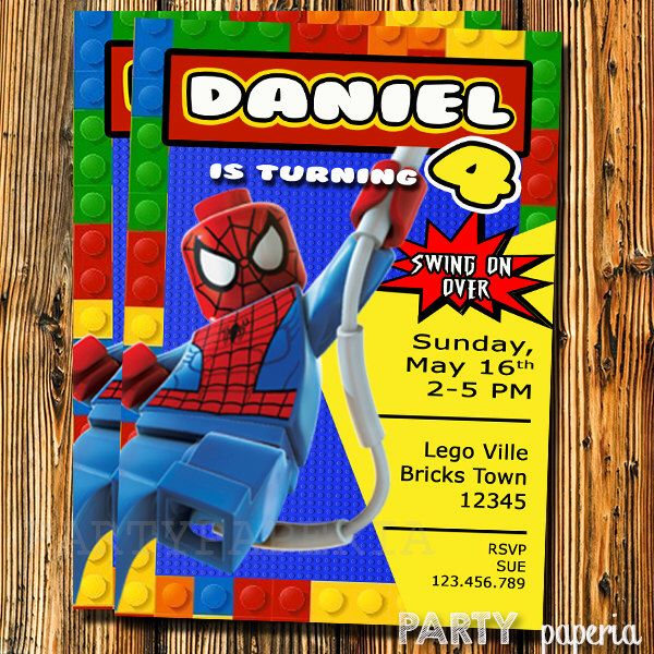 A personal favorite from my Etsy shop https://www.etsy.com/listing/245478681/spiderman-invitation-spiderman-lego