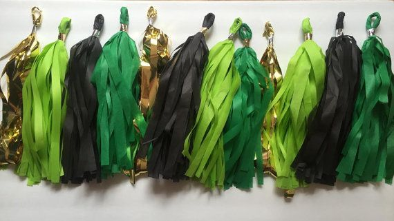 metallic gold, forest green, apple green, and black tissue paper tassel garland minecraft inspired