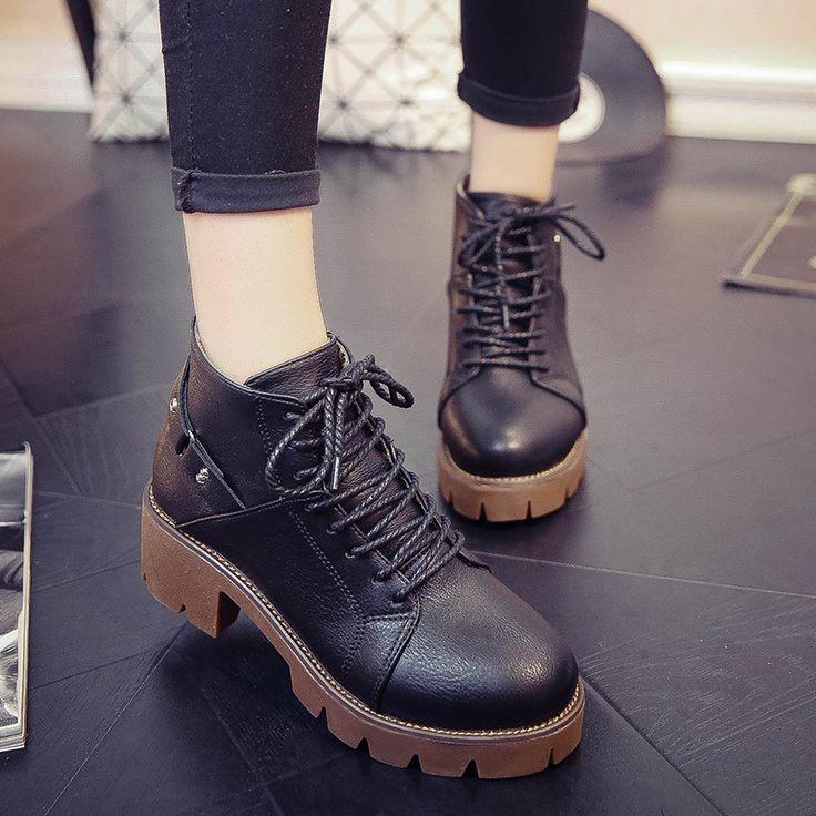 Fashion Autumn High Platform Zipper Ankle Boots
