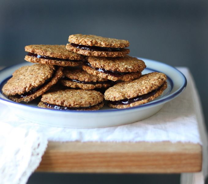Almond butter and jam sandwich cookies...Gimme!