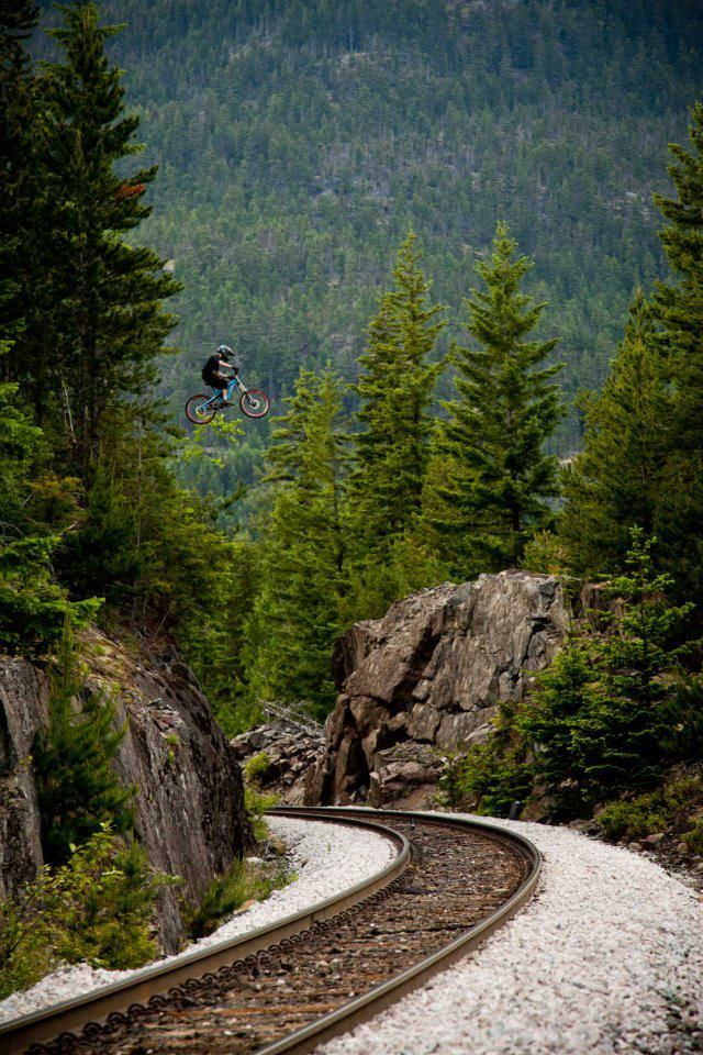 Find the mountain biker in this photo!  #Mountain Bike Train Gap Like, Repin, Share, Follow Me! Thanks!