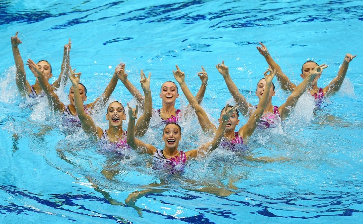 Day thirteen: Team GB competes in the Women's Teams Synchronised Swimming Technical Routine.