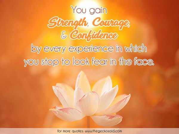 You gain strength, courage, and confidence by every experience in which you stop to look fear in the face.  #confidence #courage #experience #face #fear #gain #quotes #stop #strength