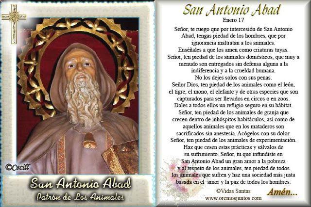 Vidas Santas: Estampita y Oración de San Antonio, Abad, Patrón d...