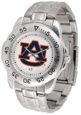 Auburn Sport Men's Steel Band Watch by SunTime. Save 24 Off!. $54.95. This handsome, eye-catching watch comes with a stainless steel link bracelet. A date calendar function plus a rotating bezel/timer circles the scratch resistant crystal. Sport the bold, colorful, high quality logo with pride.