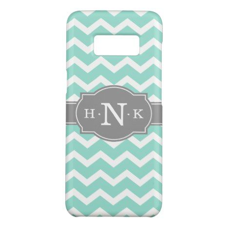 Girly Mint Chevron Grey Monogram Case-Mate Samsung Galaxy S8 Case #chevron #samsung #galaxys8 #cases #protect