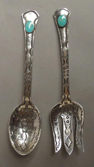 """Navajo Silver Salad Set, c. 1930 new; 8 3/4"""" length. Great old stampwork on this silver pair of Navajo salad serving set. Large pair, measuring almost 9"""" in length, each with a fine turquoise stone in the end. good age, excellent condition. New Mexico"""