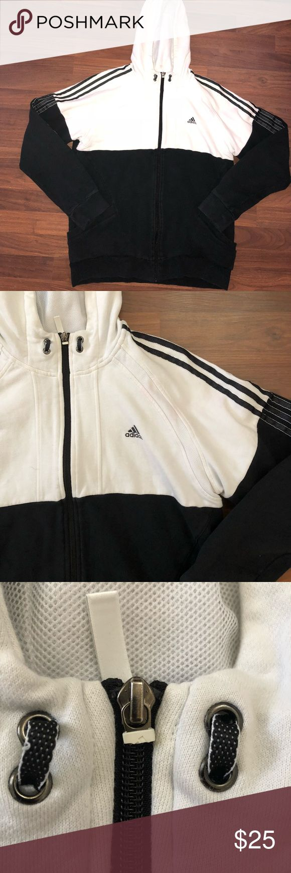 Men's Adidas hoodie size Large Men's Adidas hoodie size Large. This is a cotton hoodie, Black and white with black transitional stripes down each sleeve. Zipper zips up, buy the pull tab is missing as shown and the black is very slightly faded but still in great condition adidas Jackets & Coats Performance Jackets