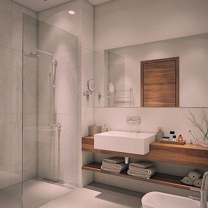 Idee Deco Salle De Bain Avec Douche Italienne Et Meuble Support En Bois Avec Vasque Carre Design Badezimmer Zimmer Baden