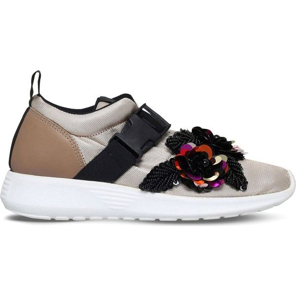 Kurt Geiger London Lawson embellished mesh trainers featuring polyvore, women's fashion, shoes, sneakers, rubber sole shoes, kurt geiger shoes, kurt geiger sneakers, flower print shoes and round toe shoes