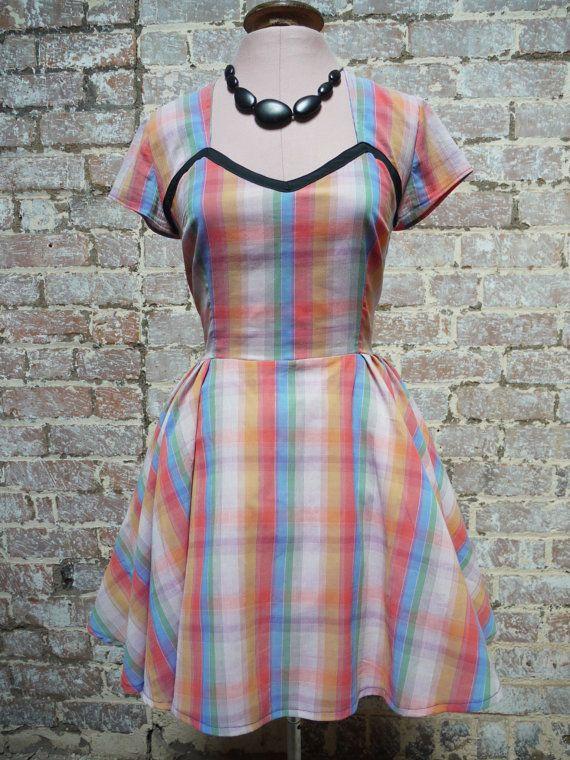 Rockabilly  dress/swing skirt/tie bow//sweetheart neckline/short sleeves/flounce back/party dress/tea dress on Etsy, $75.82