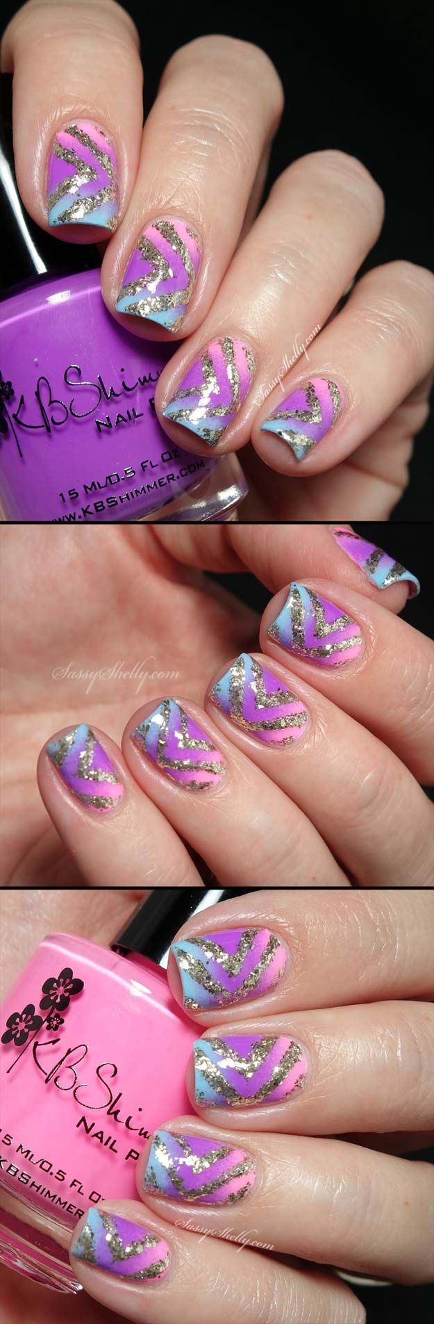 Nail Art Designs For Your Beach Vacation - Shimmer Summer Chevron - Give Yourself an Awesome New Style With One of These Manicures - Nailart with Palm Trees, Polka Dots, Sea Turtles and Designs For Just the Ring Finger - Blue China Glaze Designs and Toe Nail Art and Simple Glitter Pedicures - https://thegoddess.com/nail-art-designs-for-the-beach
