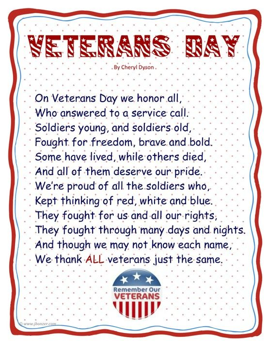 To honor our soldiers on Veteran's Day, my preschooler and I learned this poem I found on Pinterest.