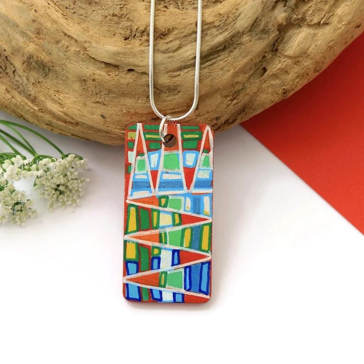 Statement Necklace, Handmade Painted Pendant, Red Necklace, Necklaces for Women, Wearable Art, Wood Pendant, Wood Necklace, Unique Jewelry
