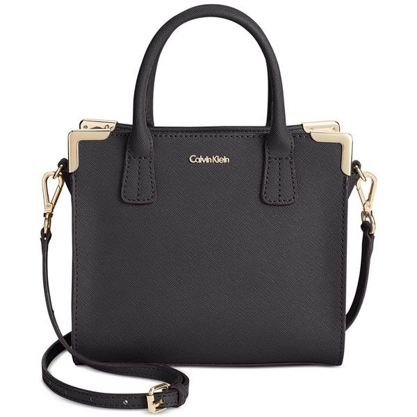 Calvin Klein On My Corner Saffiano Mini Crossbody Bag (£100) ❤ liked on Polyvore featuring bags, handbags, shoulder bags, mini crossbody purse, structured handbag, mini shoulder bag, crossbody purse and saffiano leather handbags