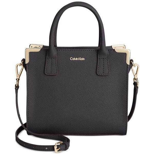 Calvin Klein On My Corner Saffiano Mini Crossbody Bag ($148) ❤ liked on Polyvore featuring bags, handbags, shoulder bags, mini crossbody, mini cross body purse, miniature purse, crossbody shoulder bags and crossbody handbags