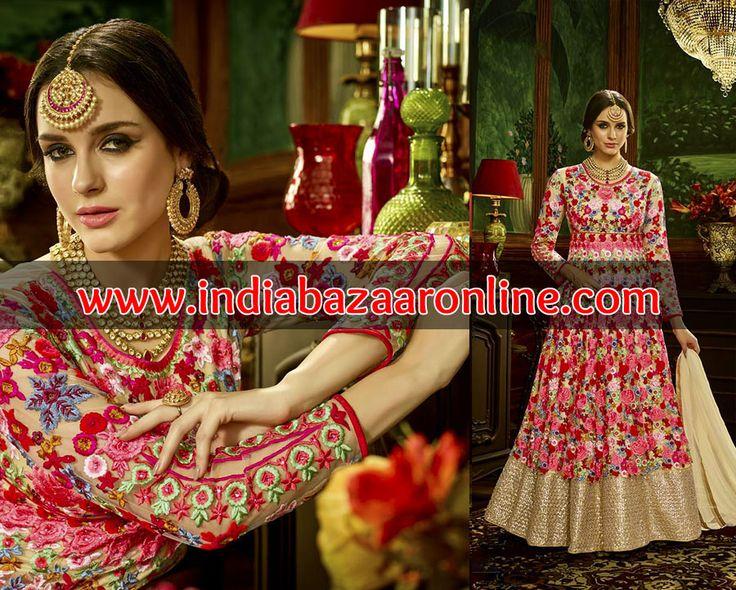 Fabulous Heavy Floral Embroidered Wedding Anarkali Suit Design MV2447162  http://www.indiabazaaronline.com/salwar-kameez#/sort=p.price/order=DESC  #AnarkaliSuits #BuyheavyanarkaliOnline #BridalAnarkaliSuit #Designer #Floralanarkalisuit