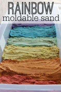 Rainbow Moldable Sand -- This sensory sand feels amazing and is so fun to play with!
