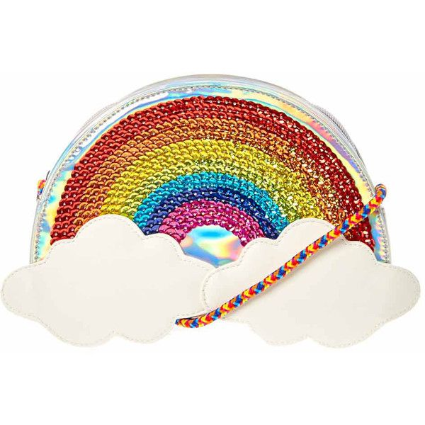 Rainbow Clouds Braided Strap Purse | Claire's ($35) ❤ liked on Polyvore featuring bags, handbags, handbags bags, madi claire handbags, purse bag, man bag and handbag purse