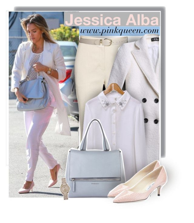 """""""Jesica Alba in Santa Monica - pinkqueen.com"""" by anne-mclayne ❤ liked on Polyvore featuring The Honest Company, Reed Krakoff, Givenchy, Jimmy Choo and Burberry"""