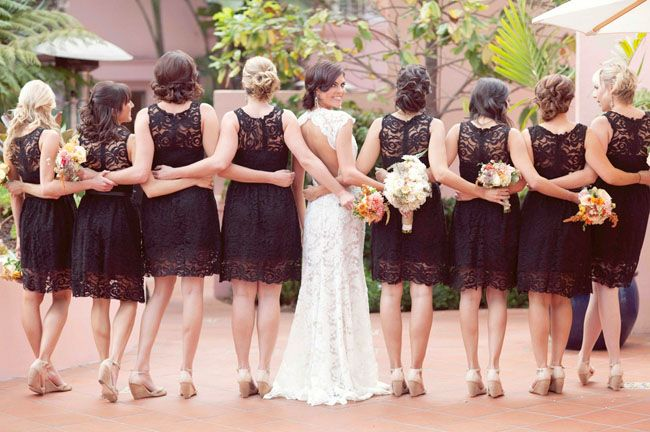 love the black lace bridesmaids dresses from this romantic spanish inspired wedding