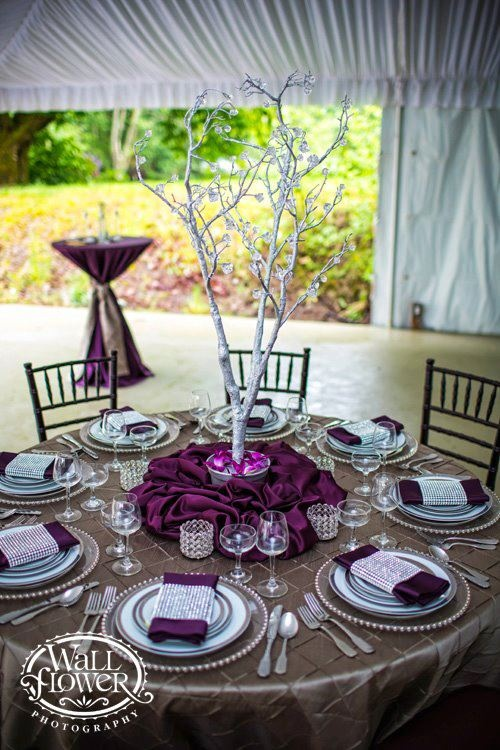 Ironwood pintuck, Eggplant lamour  Grand Event Rentals, Wallflower Photography, Sanders Estate.