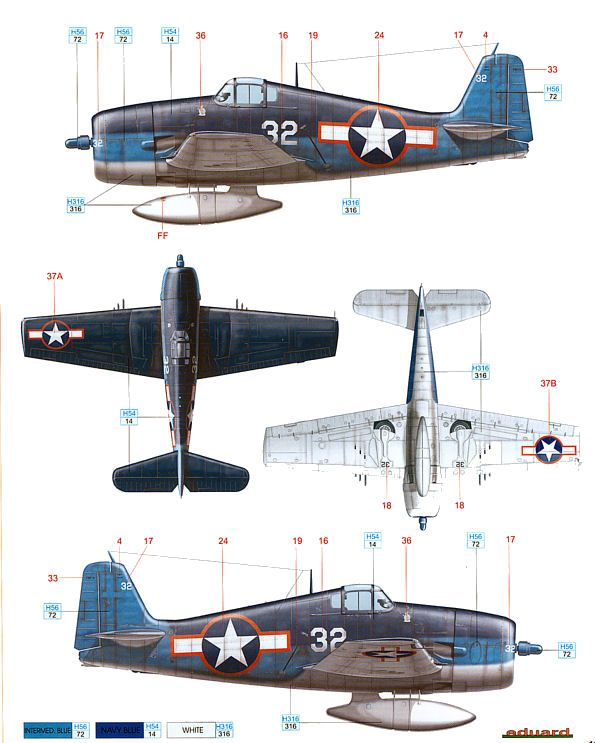 F6F Hellcat Early War Camouflage Color Profile and Paint Guide