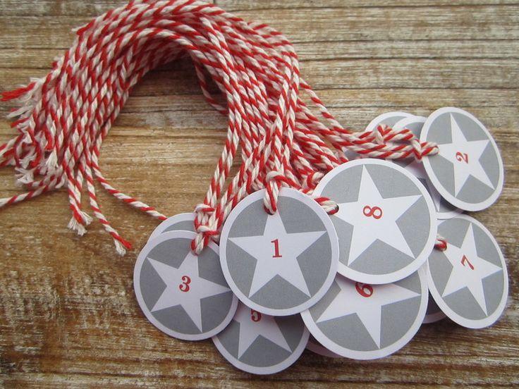 Adventskalender Zahlen rot/grau von ♥-A-TAG ! auf DaWanda.com