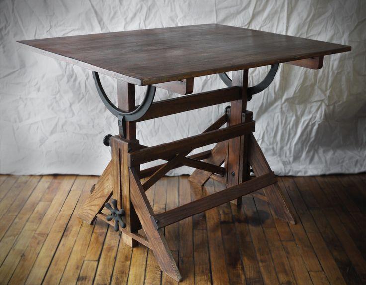 drafting tables | Vintage Drafting Table, Fantastic Metal Hardware, Great Patina