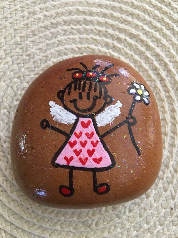 Hand Painted Angel Rock Hand Painted Rocks Painted Rocks Painted Rocks Kids