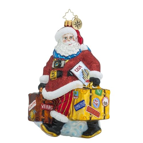 Christopher Radko Ornaments Packed for the Holidays Santa and Travel