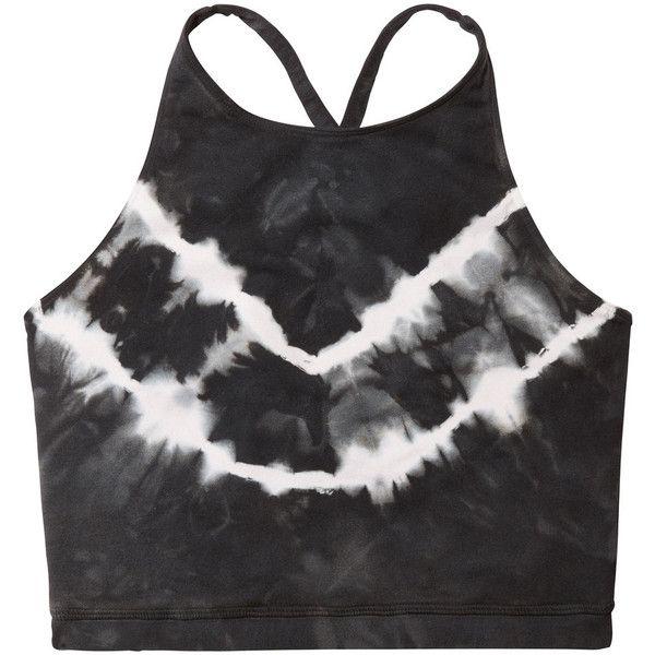Grayson Bra ❤ liked on Polyvore featuring activewear, sports bras, high neck sports bra, grey sports bra and tie dye sports bra