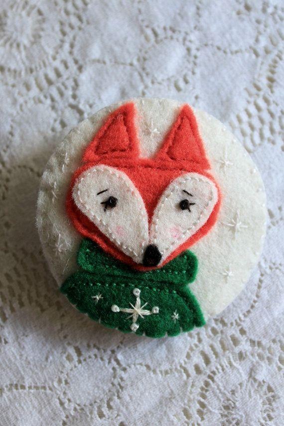 Christmas Felt Pin, Badge, Animal, Fox, Animal Jewelry, Christmas Sweater