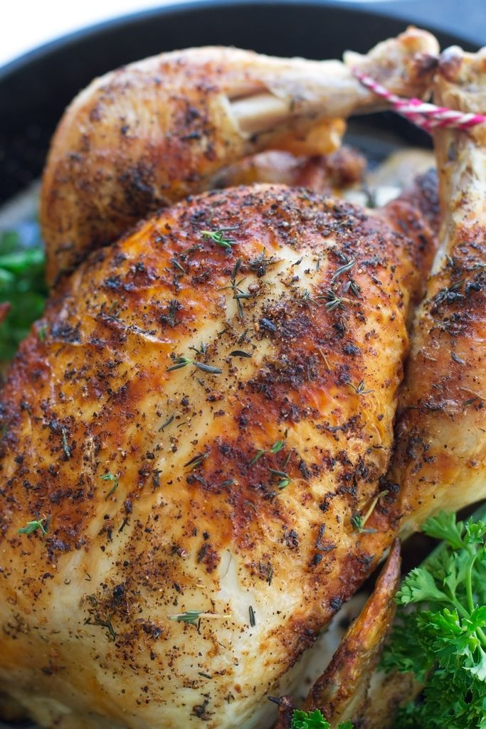 Perfect One Hour Whole Roasted Chicken - This recipe is easy, it requires no trussing and it tastes amazing! The perfect how-to roast a chicken for a beginner! #roastedchicken #chicken #chickendinner | littlespicejar.com