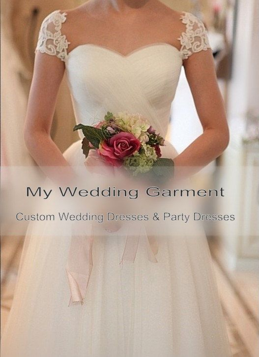 A line Tulle Wedding Dress Lace Sleeve Bridal by Myweddinggarment, $250.00